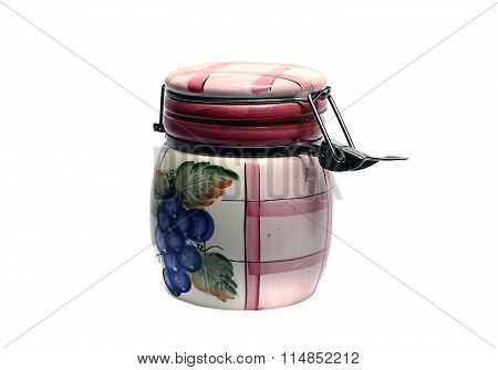 Old Ceramic Jar For Loose Products On A White Background