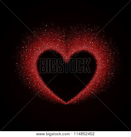 Happy Valentines Day Card with Red Glittering Star Dust Heart