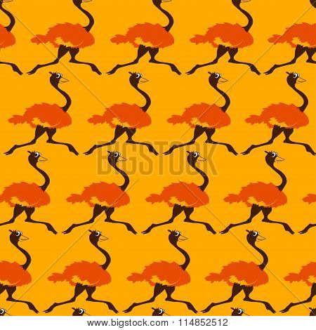 Seamless Pattern With Running Ostrich.