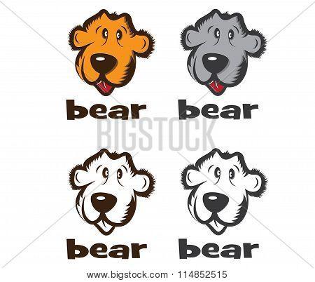 Set Of Faces Of Cartoon Bear