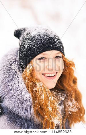 Beauty Woman Having Fun Outside In Wood On Winter Snowy Day