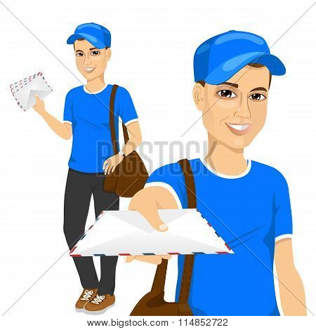 handsome young post man in blue uniform delivering mail with brown leather bag