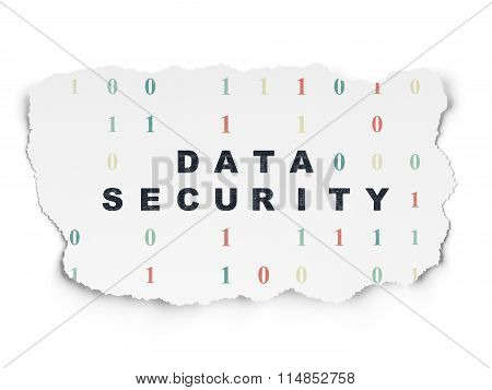 Protection concept: Data Security on Torn Paper background