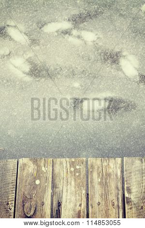 Retro Toned Old Wooden Pier On Ice, Space For Text.