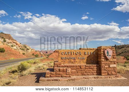 Entrance Sign At Capitol Reef National Park