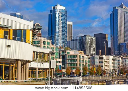View from the pier on Seattle city skyline.