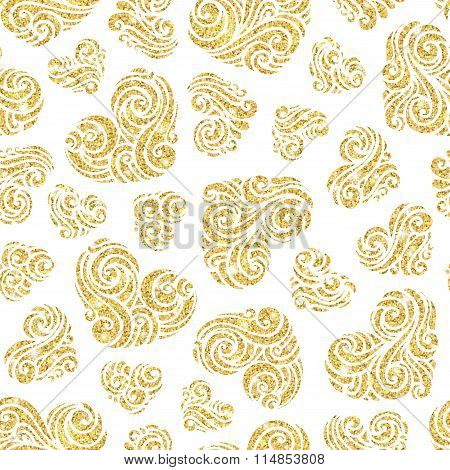Vector Seamless Gold Ornate Hearts Pattern.