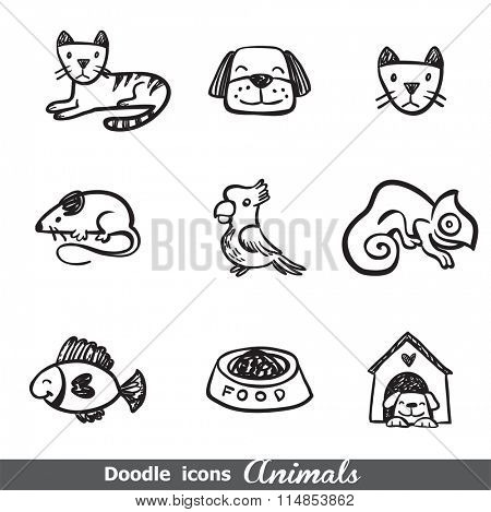 Doodles icons with animals