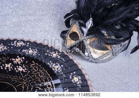 Wooden Carnival Mask With Feathers  And Fan On Glitter
