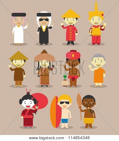 Kids and nationalities of the world vector: Asia and Oceania/Australia Set 3