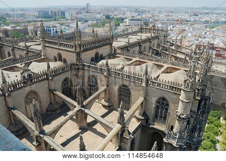 View to the roof of the cathedral of Seville in Seville, Spain.