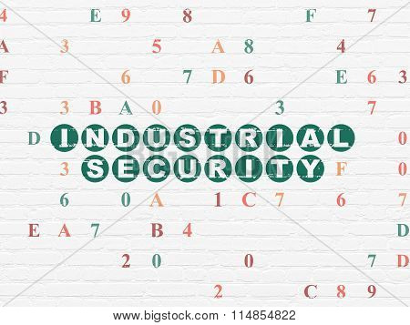 Privacy concept: Industrial Security on wall background