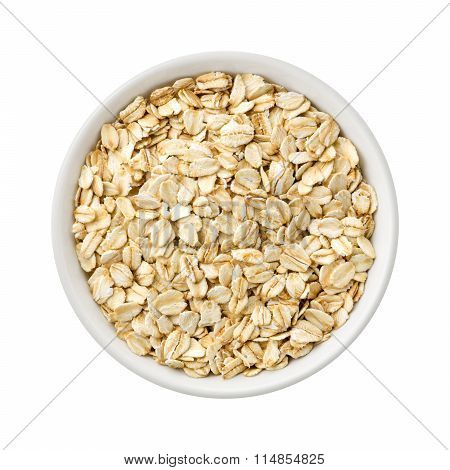 Organic Rolled Oats In A Ceramic Bowl