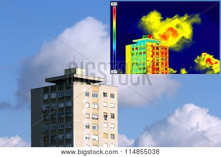 Infrared And Real Image On Residential Building