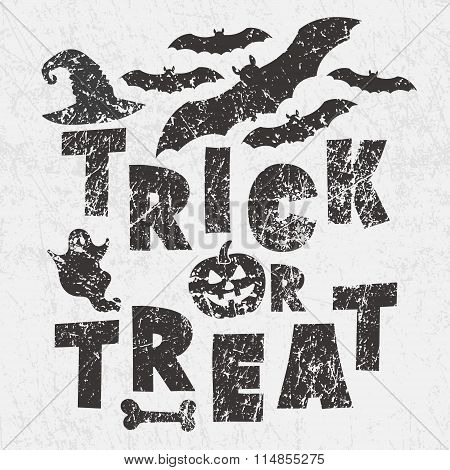 Trick Or Treat - Traditional Halloween Motto With Scary Symbols - Pumkin Jack Lantern, Bats, Ghost