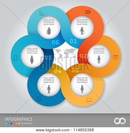 6 options linked circles in origami style infographics presentation template