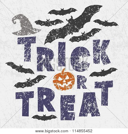 Trick Or Treat - Traditional Halloween Motto With Scary Symbols - Pumkin Jack Lantern, Bats