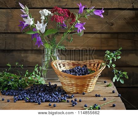 Still Life With Bilberry And A Bouquet In Bank.