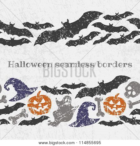 Vector Seamless Halloween Pattern Borders With Scary Symbols - Pumkin Jack Lanterns, Ghosts, Bats