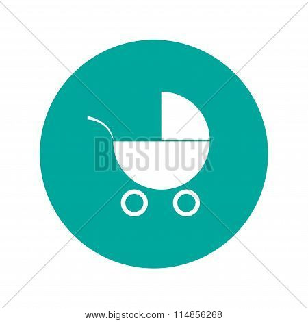 Pram Icon. Flat Design Style.