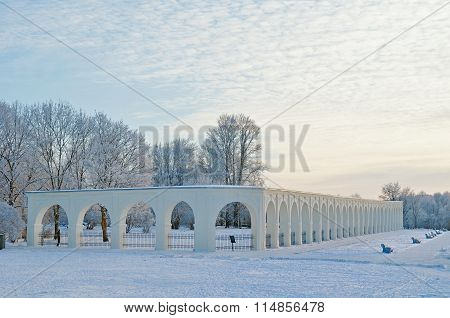Arcade Of The Yaroslav's Courtyard In Veliky Novgorod, Russia - Winter Evening Picturesque View