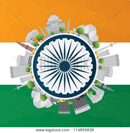 Happy Indian Republic Day celebration. Concept with indian Landmarks and copy space. Buildings on indian flag.