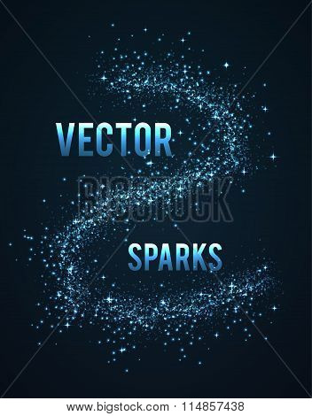 vector  sparks isolated on dark background