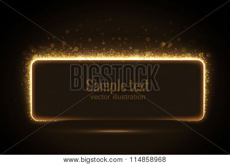 glowing banner from glittering stras