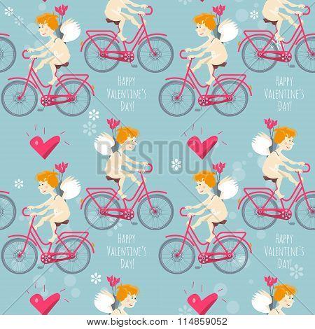 Cupid Riding A Bike. Happy Valentine's Day. Seamless Background Pattern.