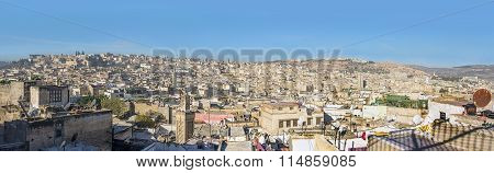 Panoramic View Of The Rooftops Of The Fez Medina. Fez, Morocco.