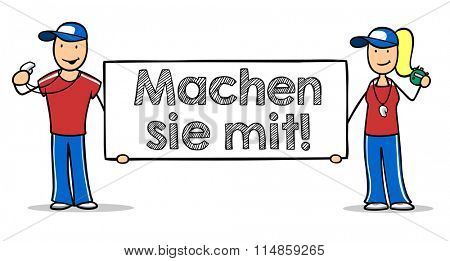Cartoon fitness trainer holding German sign