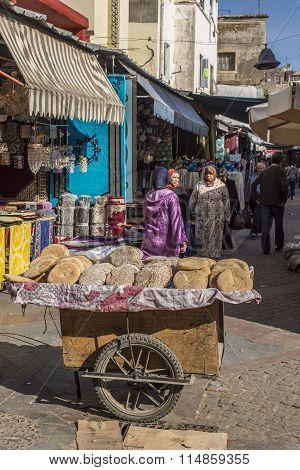Arabian Bread On Sale In A Market Of Morocco.