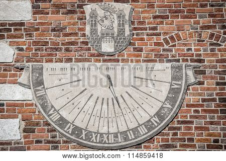 Sandomierz, Town In Poland. Old Town Hall Sundial.