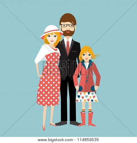 Family With Little Daughter. Man And Woman In Love, Relationship.