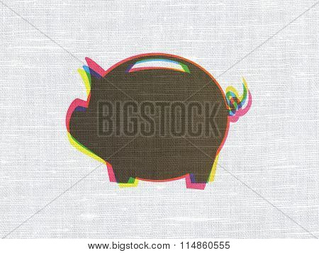 Money concept: Money Box on fabric texture background
