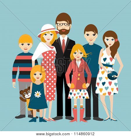 Big Family With Many Children. Man And Woman In Love, Relationship.