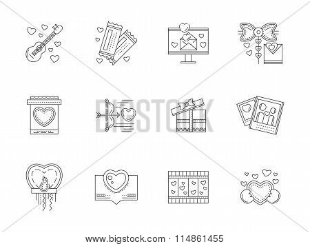 Set of love events line vector icons