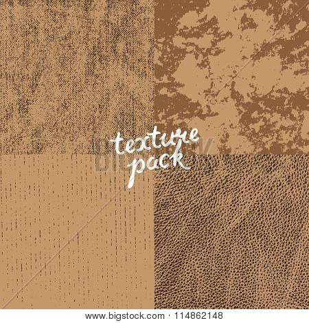 Texture pack. Canvas, stucco, cardboard, leather. Vector surface texture for grunge background