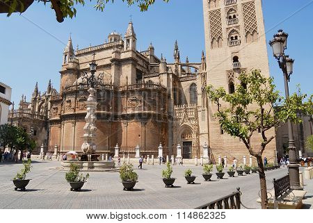 Exterior of the Cathedral of Saint Mary of the See in Seville, Spain.