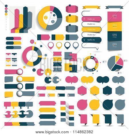 Big Set Of Infographic Elements Charts, Diagrams, Speech Bubbles.