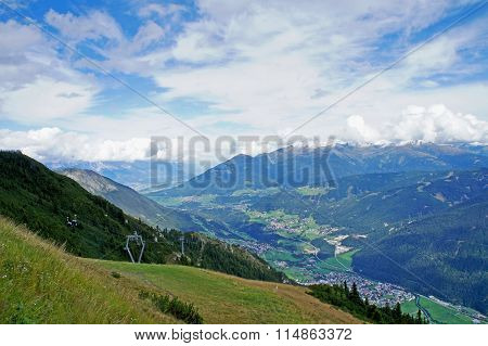 View into the Stubai Valley in Tyrol