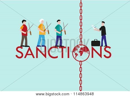 International Sanctions Concept for economic, sports and political reasons. Editable Clip Art.