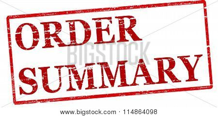 Rubber stamp with text order summary inside vector illustration