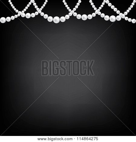 Pearl necklace on black