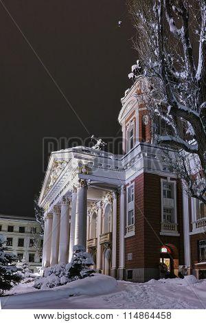 Night winter Photo of Ivan Vazov National Theatre, Sofia city