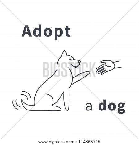 Adopt a dog  line icon
