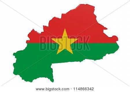 Burkina Faso Flag Map