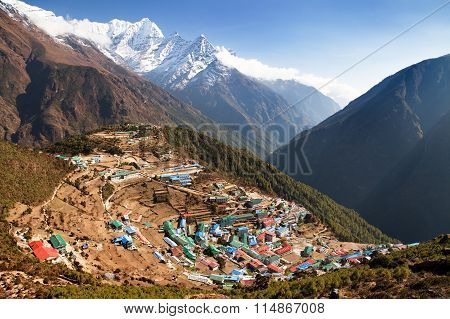 Namche Bazar And Mount Thamserku