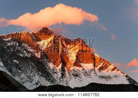 Evening View Of Lhotse And Clouds On The Top