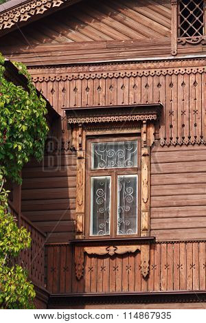 Old Window, Wooden Facade And Ivy. Architecture